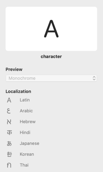 Partial screenshot of the SF Symbols app showing the info panel for the character symbol, which looks like the capital letter A. Below the image, the following seven localized versions of the symbol are listed: Latin, Arabic, Hebrew, Hindi, Japanese, Korean, and Thai.