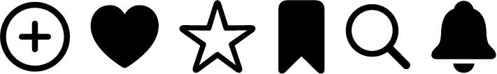 Six glyphs in a row. From the left, the glyphs are a plus sign within a circle, a filled-in heart, an outlined star, a filled-in tag shape, an outlined magnifying glass, and a filled-in bell.