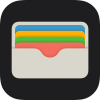 Full-color image of the Wallet app icon within a black rounded rectangle shape.