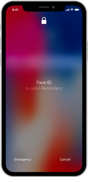 Screenshot of a lock screen with a Face ID prompt to open Reminders.