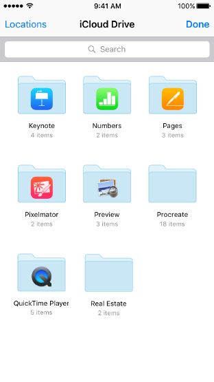 Screenshot of iCloud Drive showing eight named folders, including Keynote, Numbers, Pages, and Preview, and a search bar.