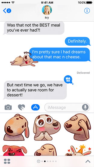 Screenshot of a Messages thread that appears above a set of dog stickers that can be added to a message.
