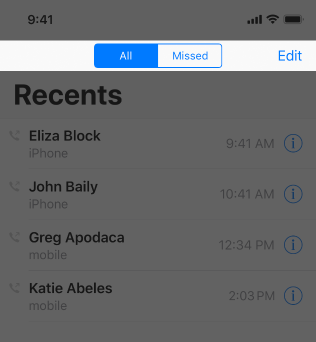 Partial screenshot of the Recents tab in Phone, highlighted to emphasize the navigation bar, in which the All button has been selected in the segmented control.