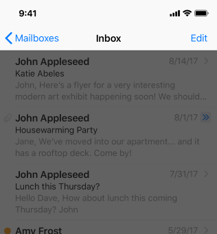 Partial screenshot of the Mail Inbox, highlighted to emphasize the navigation bar. The Inbox view has been scrolled up so that the navigation bar uses the standard title.