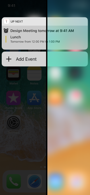 An iPhone lock screen that displays an event notification. A vertical bar animates across the screen, alternately showing the lock screen with reduce transparency on and then off.