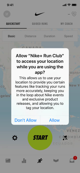 The Nike app, displaying a purpose string that reads 'Allow Nike+ Run Club to access your location while you are using the app? This allows us to use your location to provide you certain features like tracking your runs more accurately, keeping you in the loop about Nike events and exclusive product releases, and allowing you to tag your location.', with two buttons reading Don't Allow and Allow.'