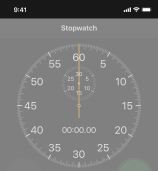 Partial screenshot of the Stopwatch screen in the Clock app, highlighted to show the status bar. The pictured devices uses Dark Mode.