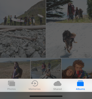 Screenshot of the Albums tab selected in the Photos app.