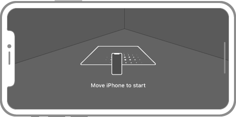 An iPhone screen showing the corner of a room viewed through the camera. On the screen is a translucent overlay containing the surface detection indicator. The indicator is a white square with rounded corners projected into 3D space. A small iPhone is shown scanning back and forth along the base of the square. A circle of dots trailing the iPhone is used to emphasize the movement.