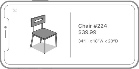 An iPhone screen in landscape showing a full screen view with the detailed information for a chair. On the left side of the screen is an image of the chair, in the middle is a vertical separator line, and on the right is the model number, price, and size of the chair.