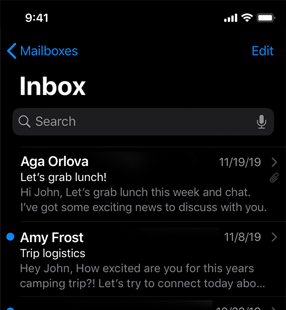Partial screenshot of a Mail inbox in dark mode, which uses a black background and white or light gray text and symbols. The back button, Edit button, and unread indicator are blue.