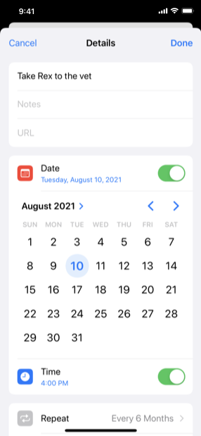 Screenshot of a reminder's details screen in edit mode. Below the current selected date of Friday, July 10, 2020, the expanded date picker displays this date in a month view, which also contains controls that let people choose a different month or year.