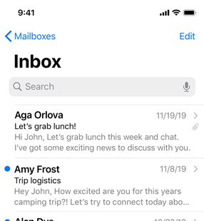 Partial screenshot of a Mail inbox in light mode, which uses a white background and black or gray text and symbols. The back button, Edit button, and unread indicator are blue.
