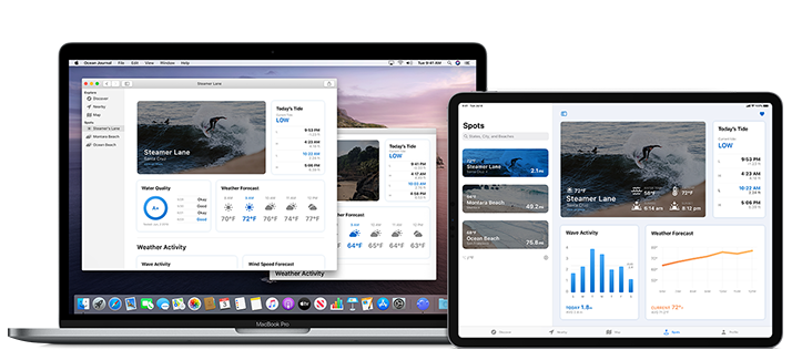 Image of a MacBook Pro and an iPad Pro, both running the Ocean Journal app. The Mac version of the app uses two separate windows to display the content; the iPad version uses a split view.