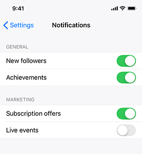 Partial screenshot of an app's notifications settings screen on iPhone. The settings are displayed in a grouped table view that contains two groups, each of which contains two rows. The group titled General shows the following two settings: New followers and achievements. Both items are turned on. The group titled Marketing shows the following two settings: Subscription offers and live events. Subscription offers is turned on and live events is turned off.