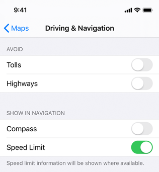 Partial screenshot of Driving and Navigation settings for the Maps app, which uses a grouped table to list types of roads to avoid separately from items to be shown in navigation.