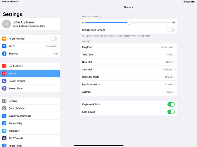 Screenshot of Sound settings on iPad. The left view is a plain table of top-level settings in which Sound is selected. On the right is the Sound settings detail view, which uses the inset grouped table style to separate settings into three groups.
