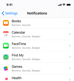 Partial screenshot of Notifications settings, which uses the subtitle row style to display an app's icon followed by the app's name. Under the app name, the selected types of notification styles are listed as a subtitle.