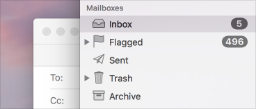The sidebar in Mail on macOS.