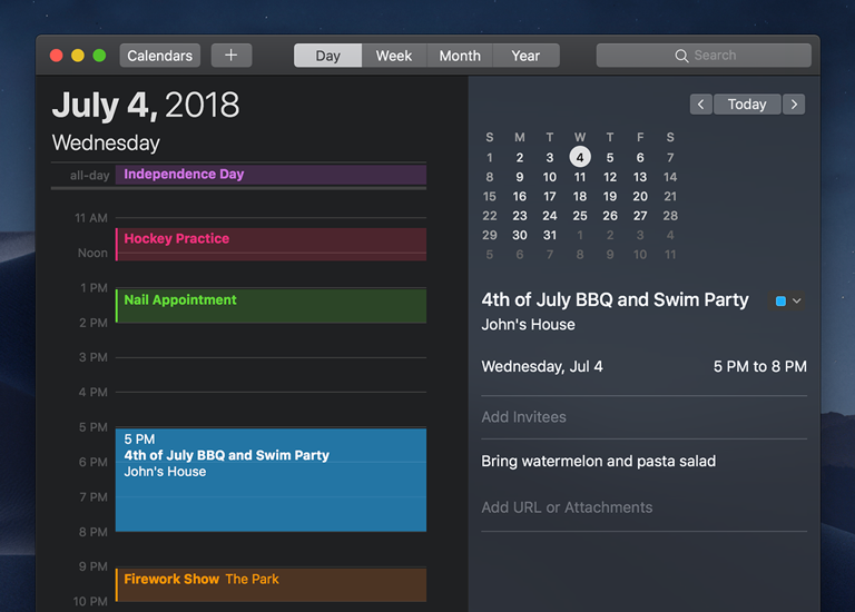 The Calendar app with a dark appearance.