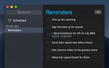The Reminders app with a dark interface.