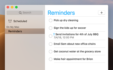 The Reminders app with a light interface.
