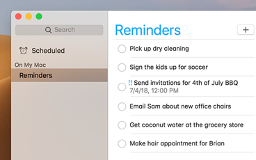 The side bar of the Reminders app blends with the content behind the window.