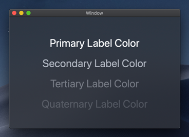 In Dark Mode, the primary, secondary, tertiary, and quaternary label colors are light colors, which makes them stand out from the dark background.