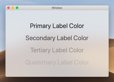 In a light appearance, the primary, secondary, tertiary, and quaternary label colors are dark colors, which makes them stand out from the light background.