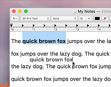 Screenshot of a TextEdit window in which a portion of text is being dragged. The vertical insertion indicator shows where in the content the selected text will drop.