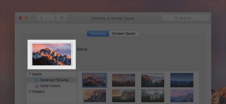 Screenshot of Desktop & Screen Saver preferences with the image well containing the currently selected desktop picture highlighted.