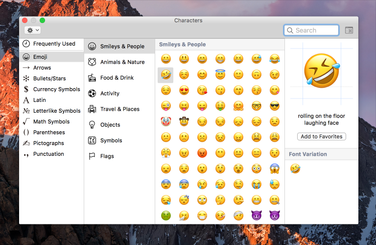 Screenshot of Font Book, which uses four panels to organize a large hierarchy of font and emoji choices.
