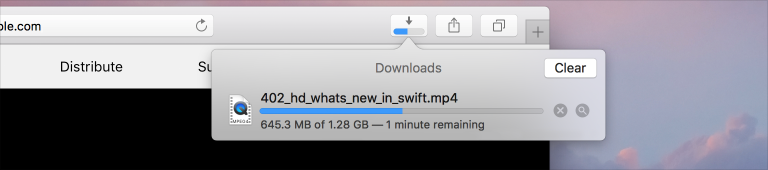 Screenshot of a Safari window, cropped to show the Downloads popover. In the popover, the progress of a download is shown by a progress bar that's filled to about the midpoint.