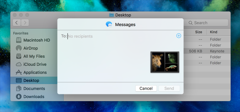 Screenshot of the Messages share extension in the foreground and a Finder window in list view with a selected document in the background.