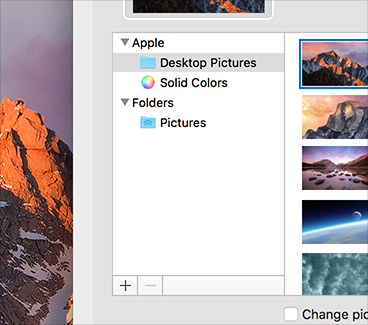 Partial screenshot of a System Preferences window with an opaque sidebar that does not reveal any of the desktop picture beneath it.