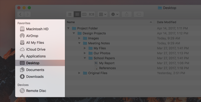 Screenshot of a Finder window, with the sidebar highlighted and desktop selected.