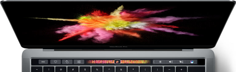Image of a MacBook Pro showing the color burst one desktop picture and the Touch Bar. The Touch Bar contains various controls, including a scrubber in which the color burst one image is selected.
