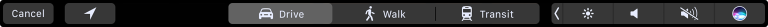 Screenshot of a Touch Bar that contains Maps controls, such as the current location button and the drive, walk, and transit buttons for directions. All Maps buttons have gray fill and white glyphs and titles. The drive button is selected, which means that its fill is lighter.