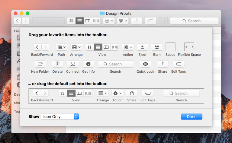 Screenshot of the Customize Toolbar sheet in Finder.