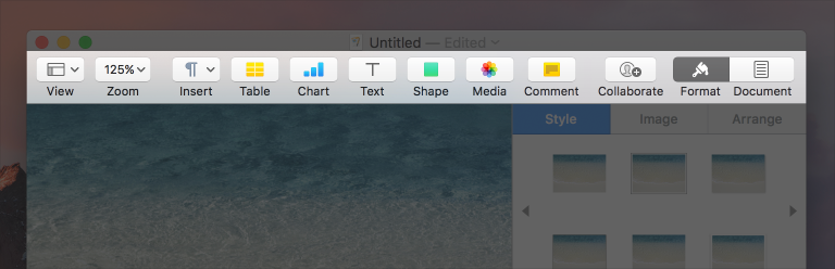 Partial screenshot highlighting the toolbar and its buttons in Pages.