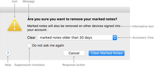 Screenshot of an alert window, with callouts for Icon, Message, Informative Text, a designated Accessory View, Help icon, a Suppression checkbox, and the response buttons—Cancel and Clear Marked Notes.