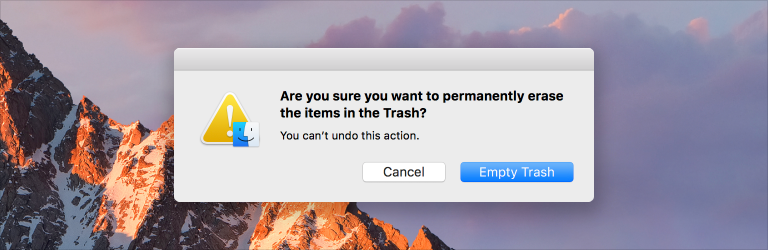 Screenshot of a Finder alert window that uses text to inform people that the empty trash action can't be undone.