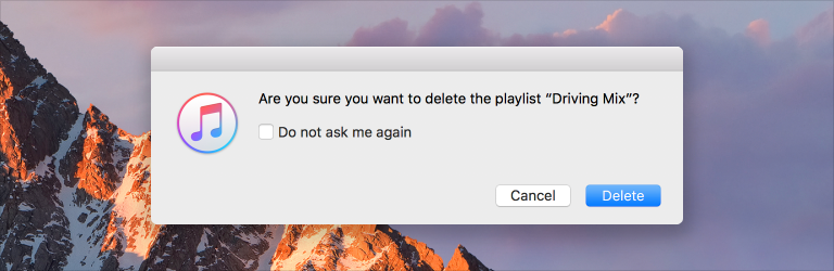 Screenshot of an iTunes alert window, which includes a checkbox that lets users suppress future alerts generated for the same reason.