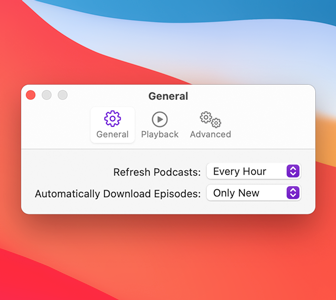 Screenshot of the General preferences pane of the Podcasts app. The app's purple accent color is visible in the toolbar icon that represents General and in the content area's pop-menus.