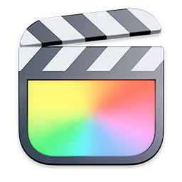 The Final Cut Pro X app icon, which is an idealized version of a clapperboard. The overall shape of the icon is a rounded rectangle, even though the arm of the clapperboard is raised slightly at the top.
