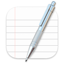 Image of the TextEdit app icon in macOS 11. The icon shows an image of white paper ruled with gray horizontal lines and one red vertical line that indicates the left margin. The image is masked to a rounded rectangle shape and it includes a realistic mechanical pencil in front of it, slanting from top-right to bottom-left.
