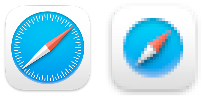 Two images of the Safari app icon, shown side by side. On the left is the 512 by 512 size, which clearly shows the red and white needle (which points northeast), and the circle of tick marks that indicate degrees on top of the blue disk. On the right is the 16 by 16 size, which shows a pixellated red and white needle pointing northeast on top of a pixellated blue disk, but no tick marks.