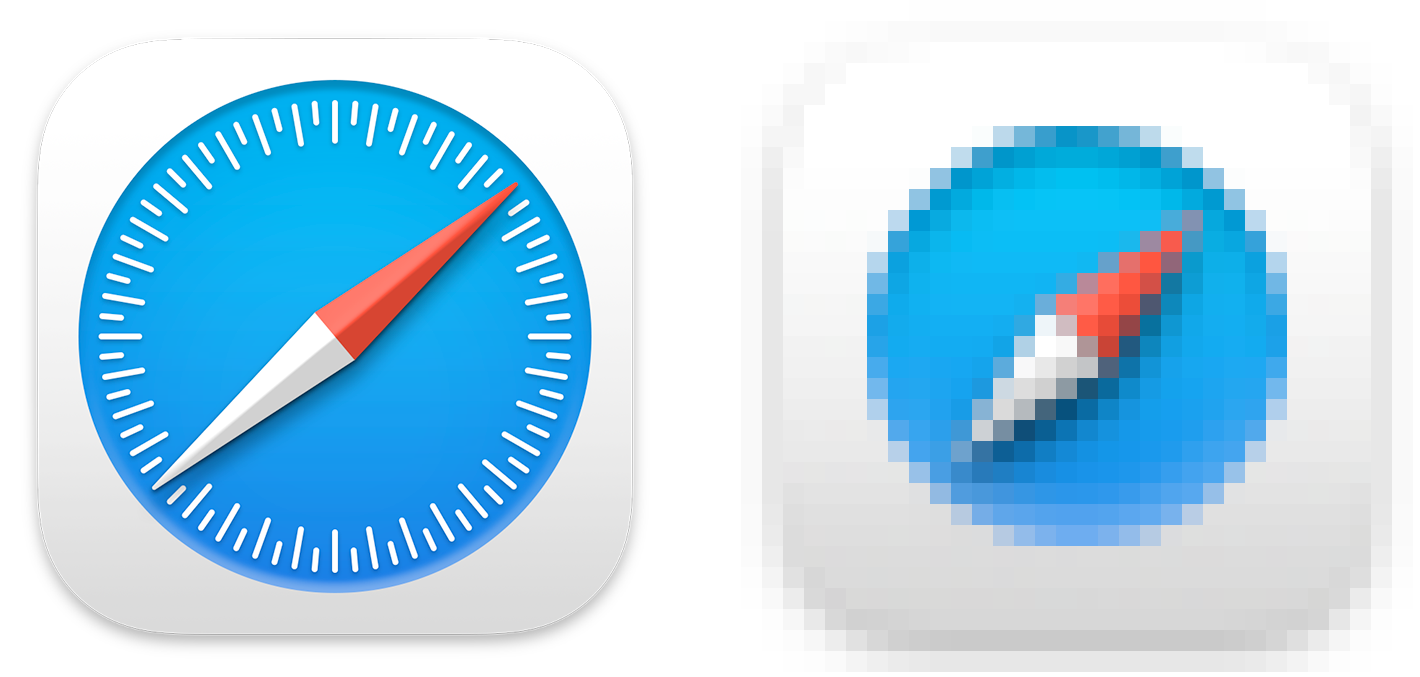 The 512x512 pt Safari app icon (on the left) uses a circle of tick marks to indicate degrees; the 16x16 pt version of the icon (on the right) doesn't include this detail.