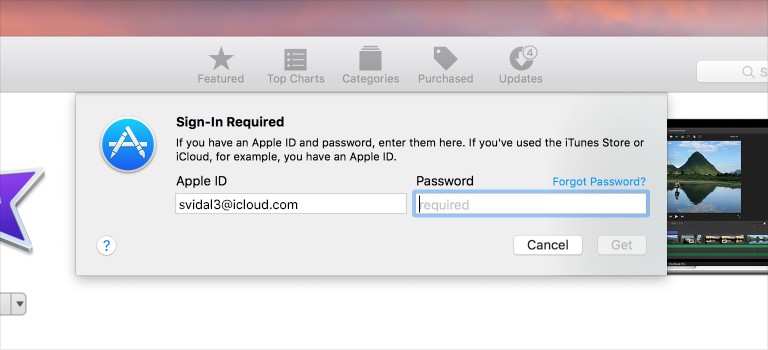 A screenshot of a Sign-In sheet, presented by the App Store in macOS.