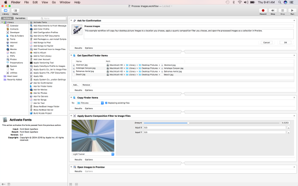 Screenshot of the Automator window in full screen.